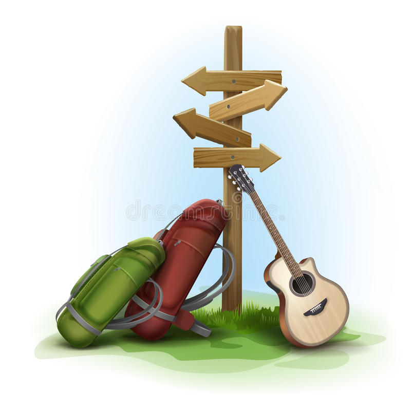 Wooden directional signpost. Vector wooden directional signpost with two big backpacks and guitar on background stock illustration