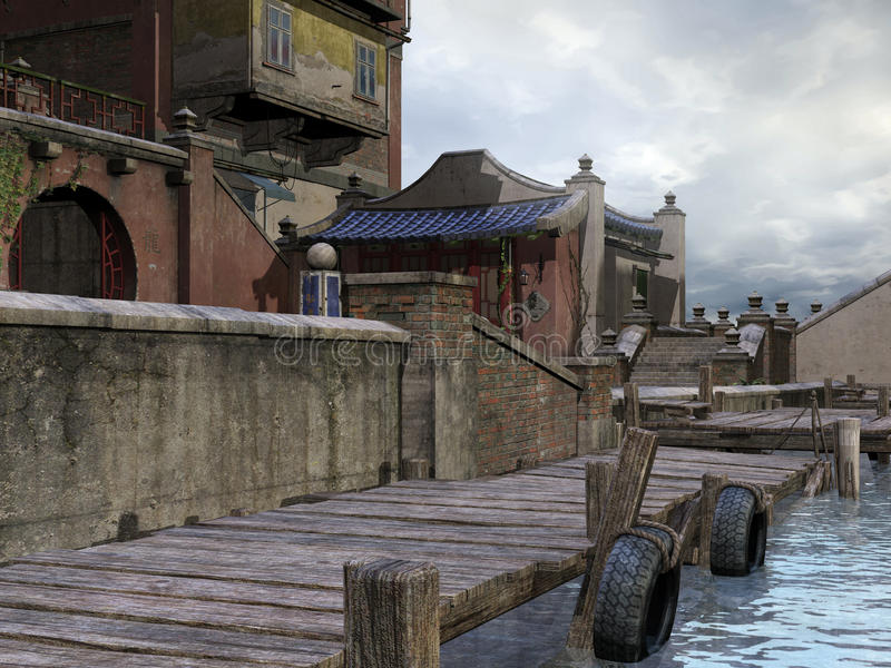 Wooden dock in Asian town. Wooden dock in an old Asian town royalty free illustration