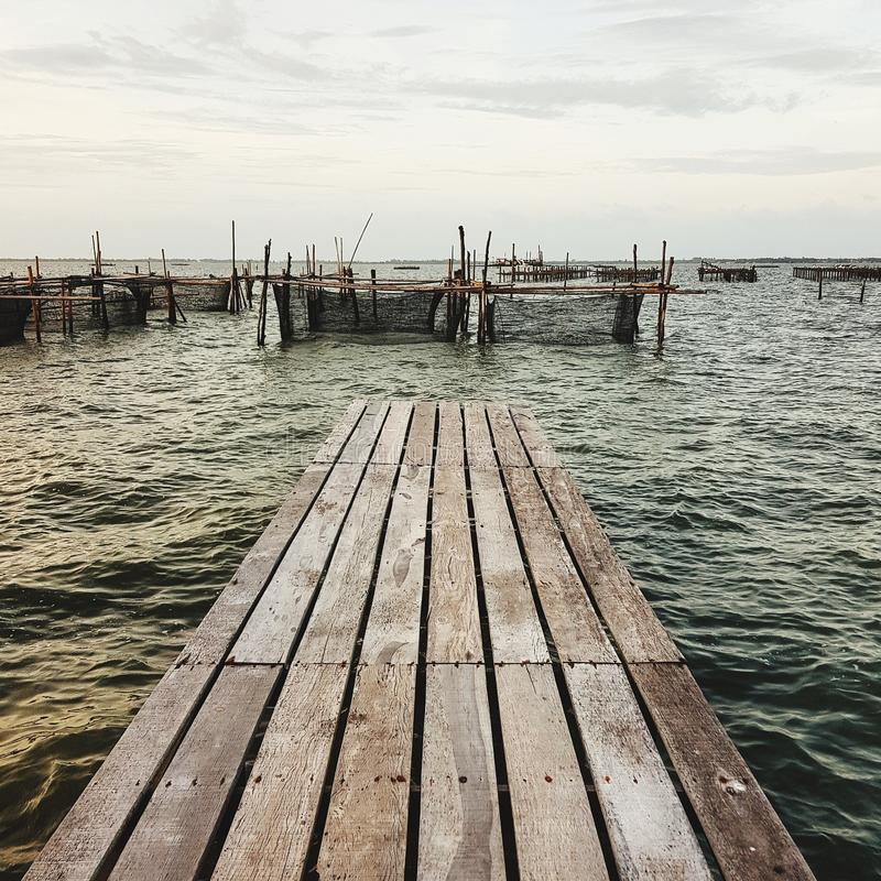 Wooden dock stretching sea at coast. Wooden-dock, moor, pier, anchor, ocean, seashore, seascape, fishing, fisherman, fishery, outdoor, nature, sunset, bay stock photos