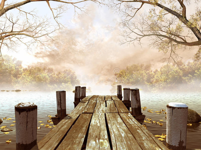 Wooden dock with tree branches. Wooden dock with leaves and tree branches stock illustration