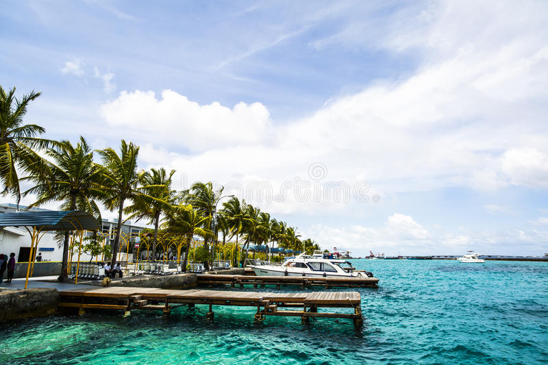 Download Wooden Docks With Boats Outside Male International Airport, Male, Maldives Stock Photo - Image of dock, coastal: 75986250
