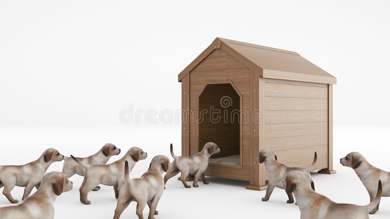 Wooden dog's house. concept size dog's house royalty free illustration