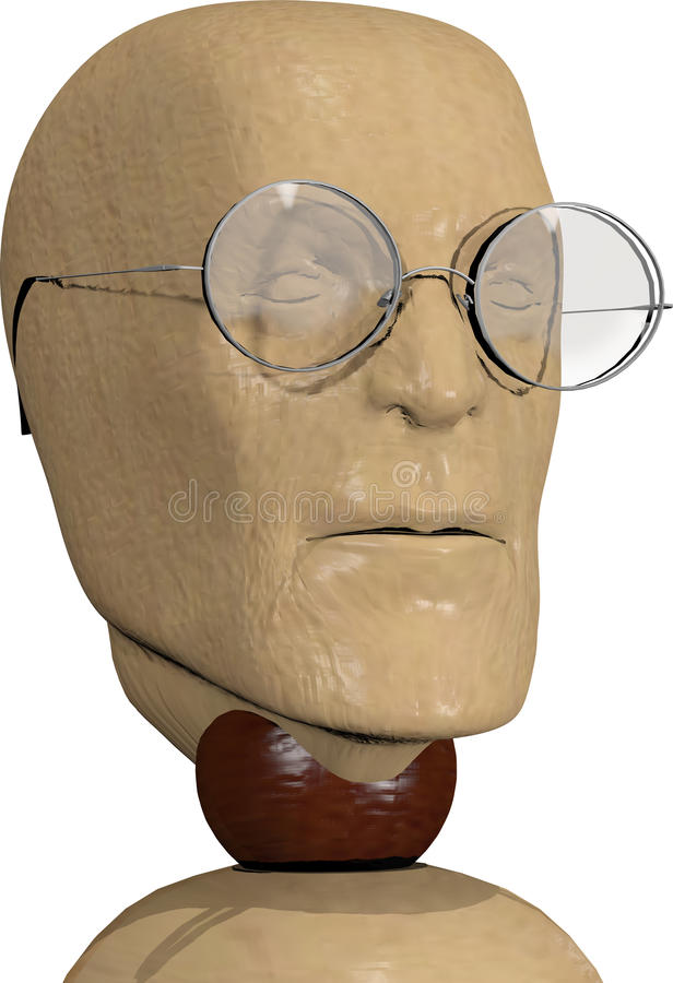 Wooden doll of glasses royalty free stock photo