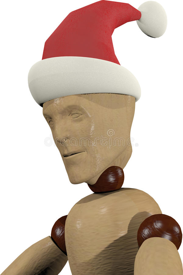 Wooden doll with Santa hat stock images