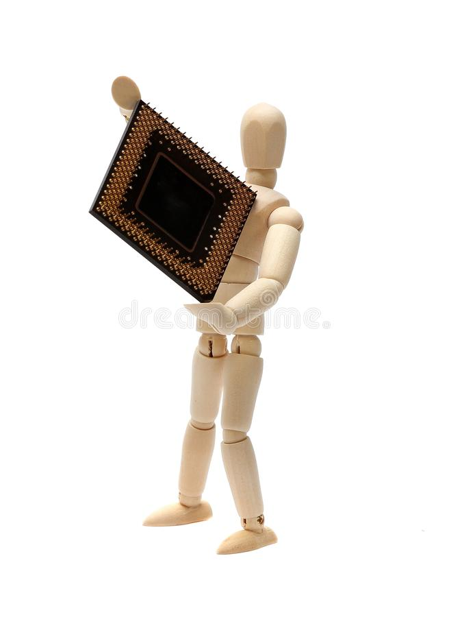 Download Wooden Doll With Semiconductor Stock Image - Image: 26876187