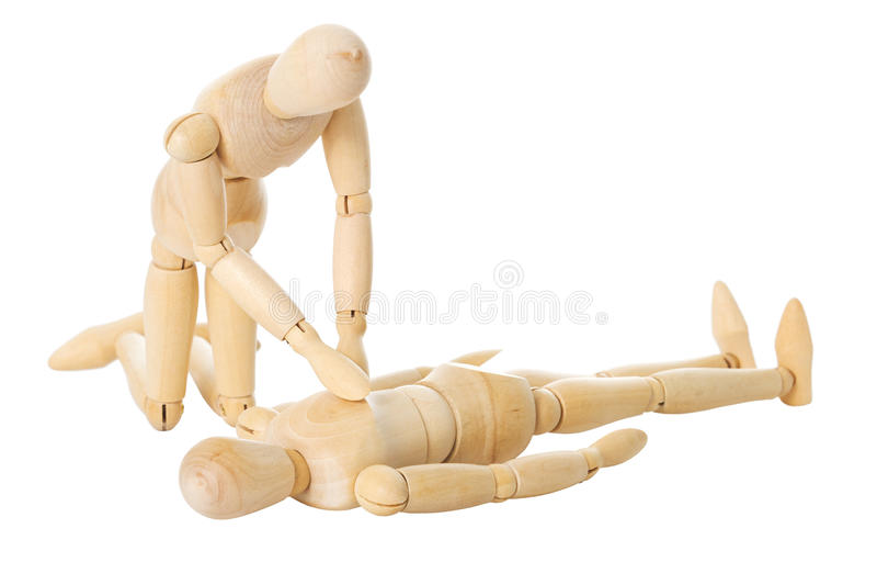 Wooden dolls reanimation stock photo