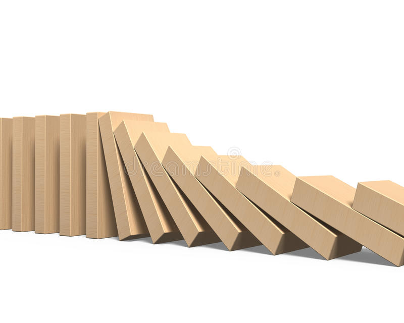 Wooden dominoes falling. Isolated on white background royalty free stock images