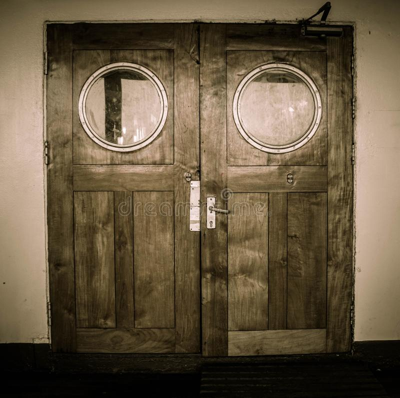 Wooden door with black and white color on the ship. In indonesia royalty free stock images
