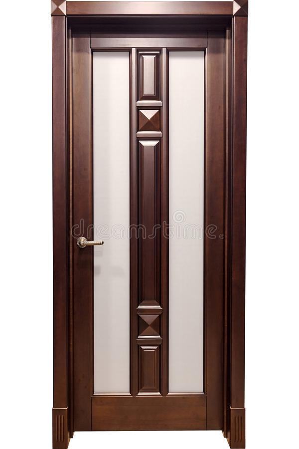 Wooden door with brass handle and insets of frosted glass in door frame isolated. On white stock photos