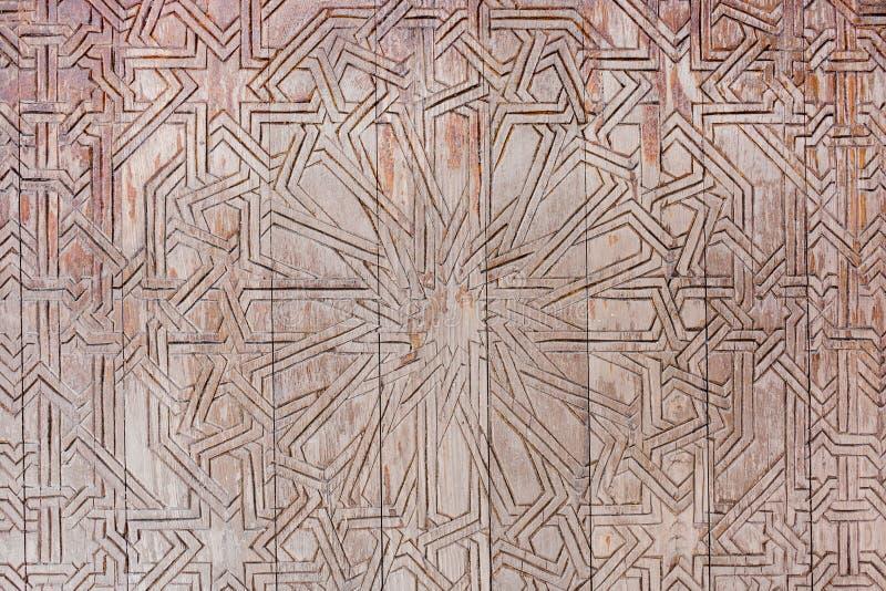 Wooden door carving stock photo