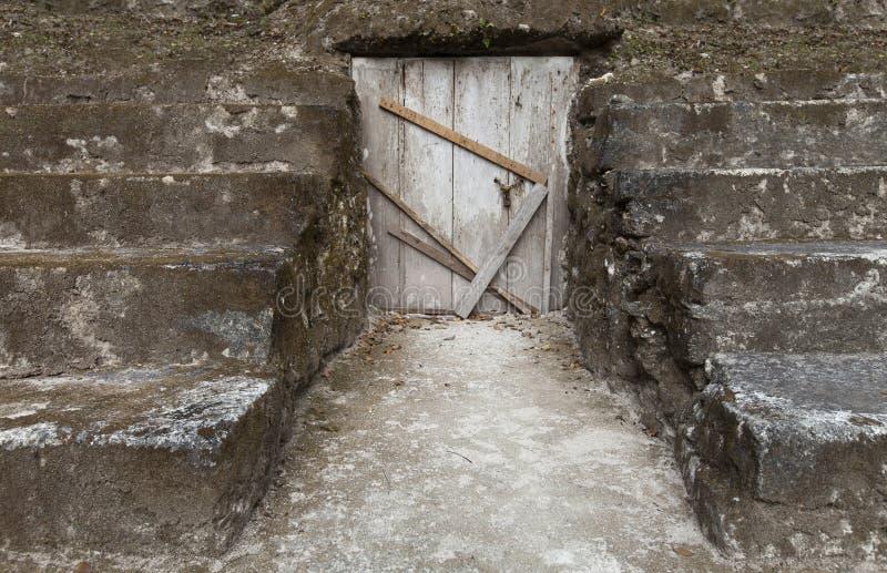 Wooden door is closed