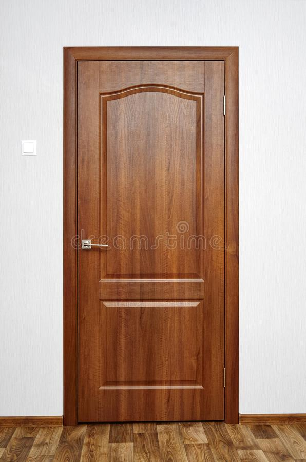 Wooden door, doorway, entrance and exit from the room stock photography