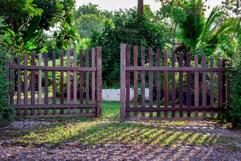 The wooden door stock image