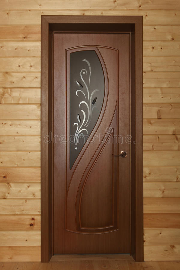 Download Wooden Door With Glass Window With Foliage Stock Image - Image of interior, deal: 34099945