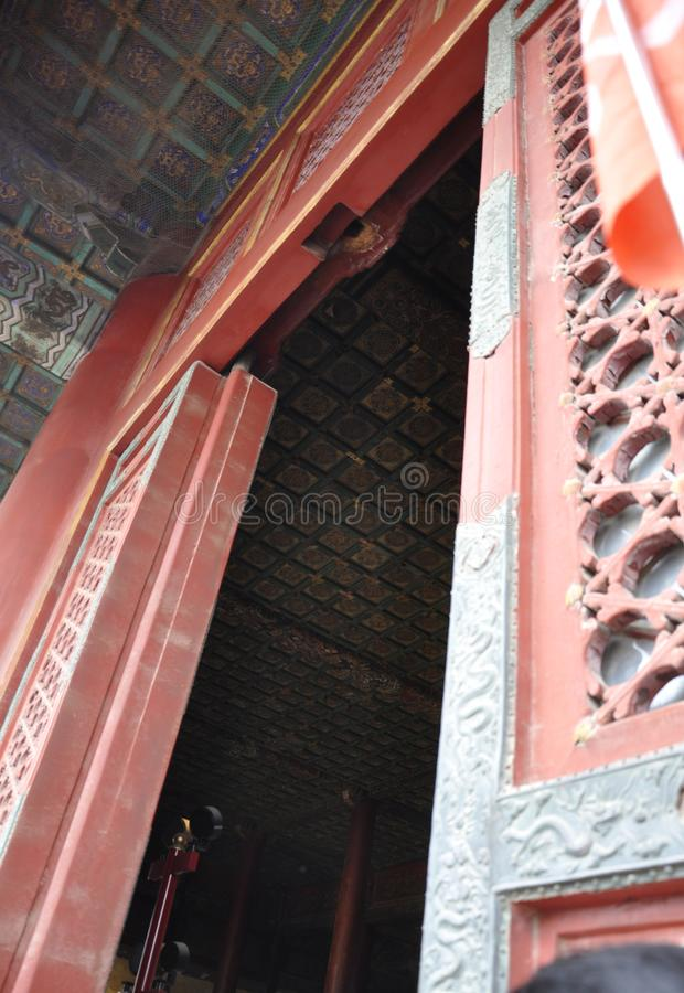 Wooden Door of Hall of Supreme Harmony from the Forbidden City in Beijing royalty free stock image