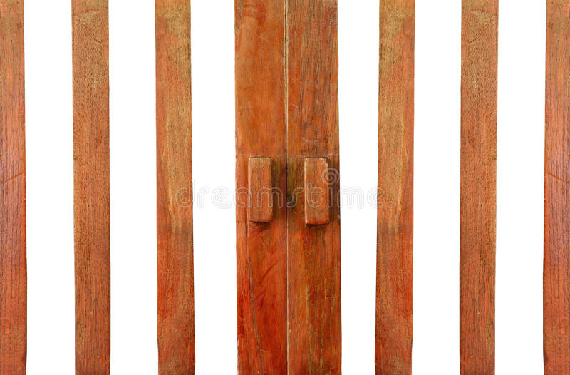 Wooden door with handle royalty free stock images