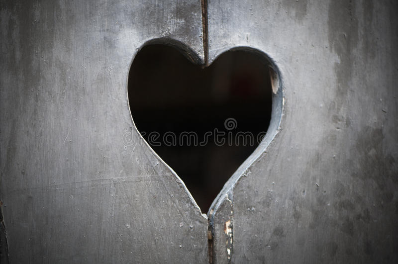 Wooden Door With Heart Royalty Free Stock Photos
