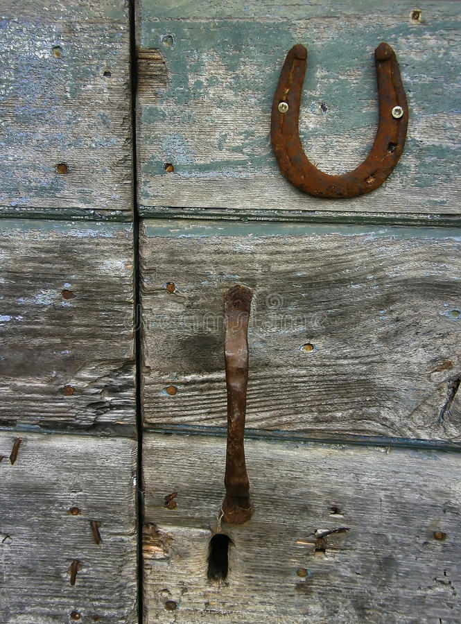 Wooden Door, Horseshoe Royalty Free Stock Photography