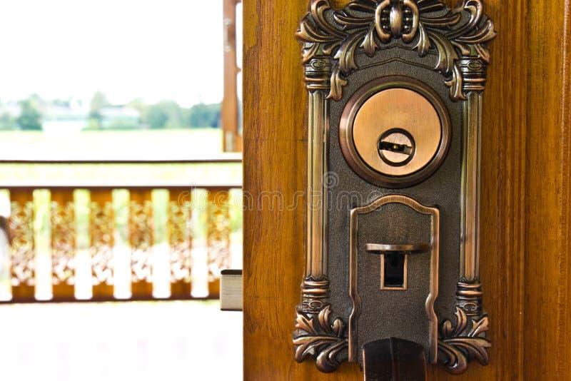 Wooden door and Keyway. Wooden door and handle,Keyway stock image