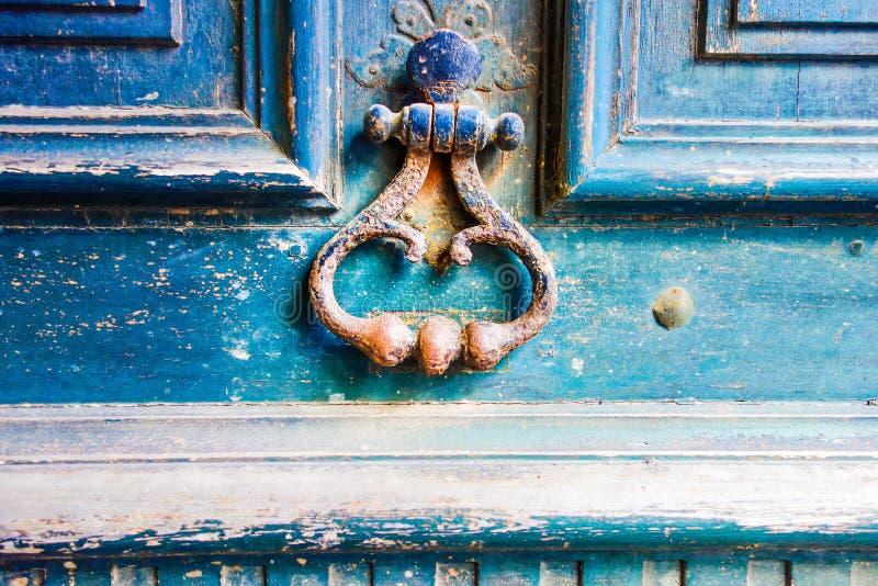 Wooden door with metal handle stock photo
