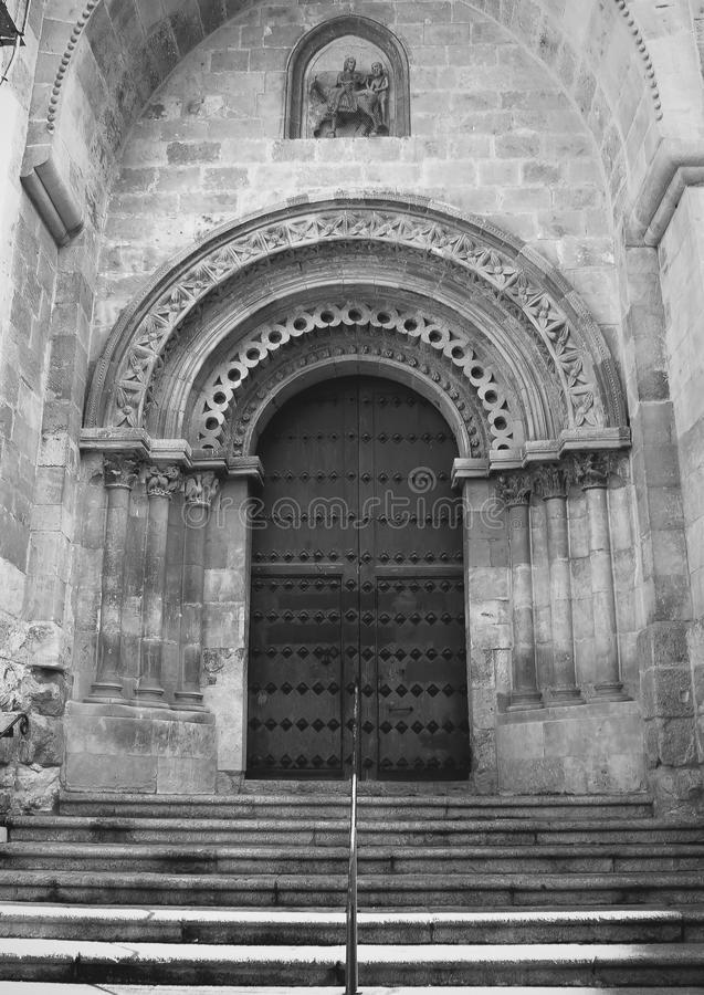 Wooden door of old church royalty free stock images