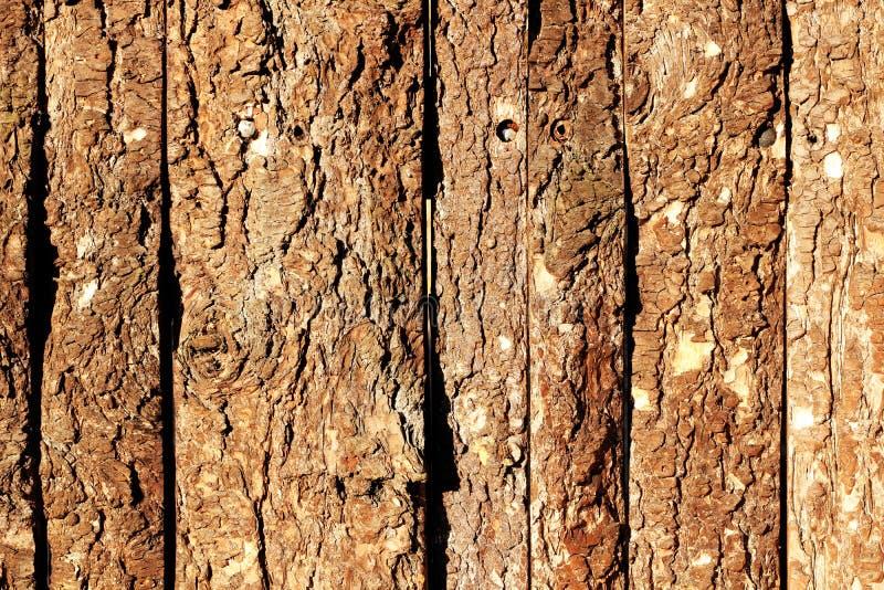 Wooden door with old natural pine bark outdoor texture stock images
