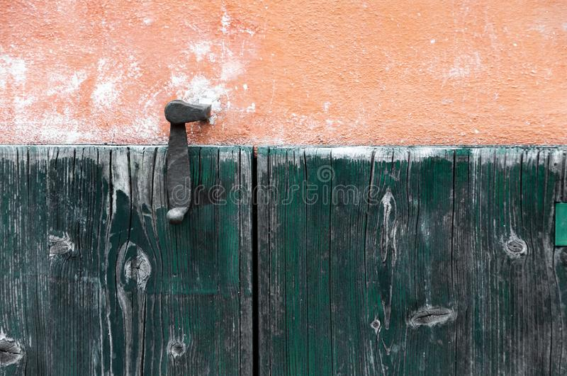 Door made of wood panels in a rural house, Italy stock photo
