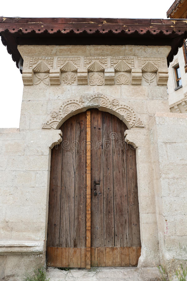 Wooden Door of an Turkish Traditional House stock image