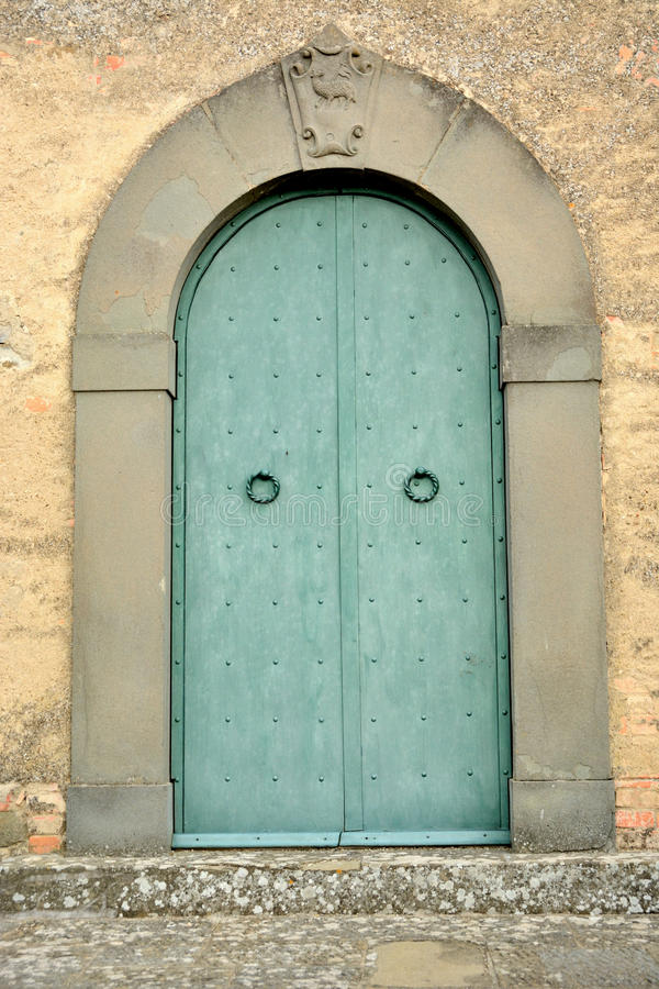 Wooden door / typical wooden door in an Italian city stock photos