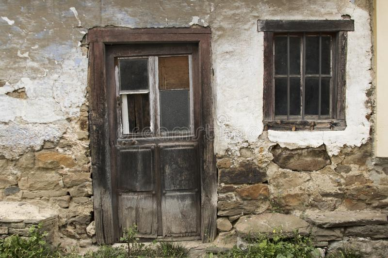 Facade of abandoned house stock photography