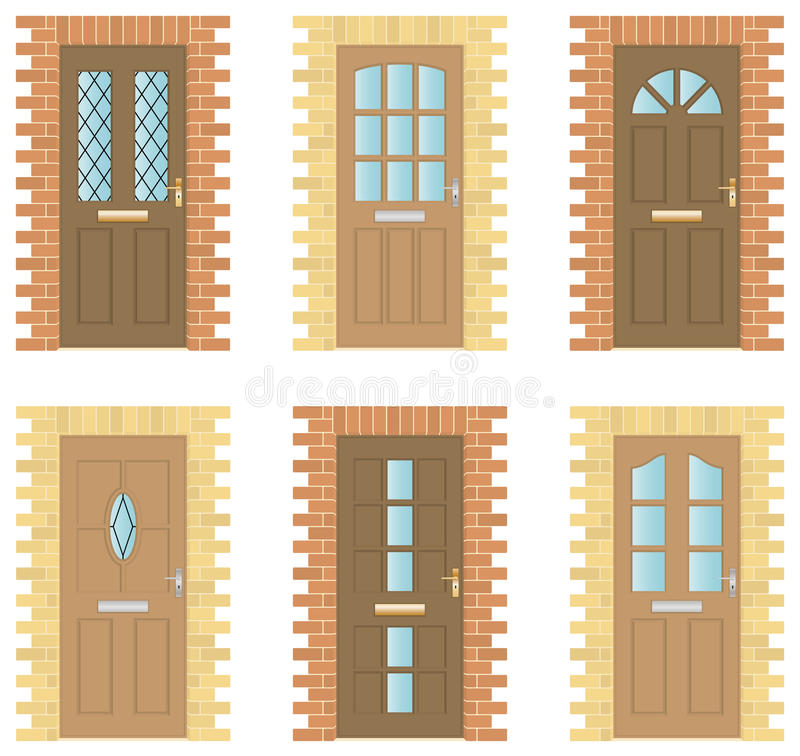 Wooden Doors Set stock illustration