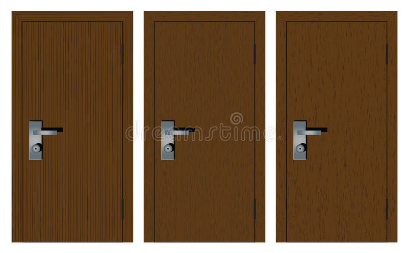 Wooden doors on a white background. Wooden doors with different texture. on white background vector illustration