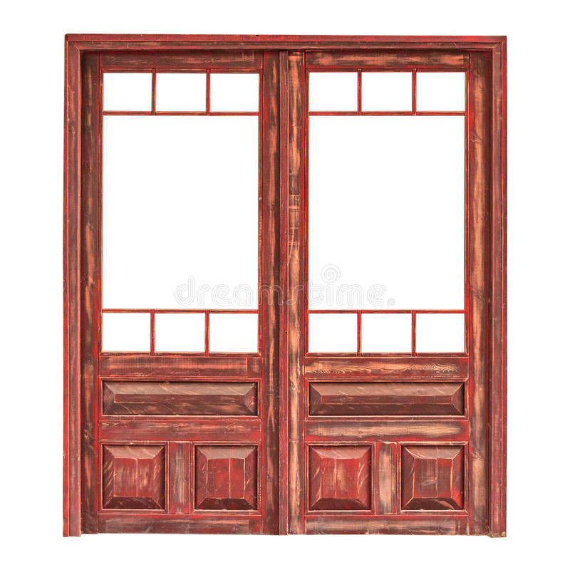 Free Wooden Double Glazed Door Without The Glass Isolated On White Royalty Free Stock Photography - 75327157
