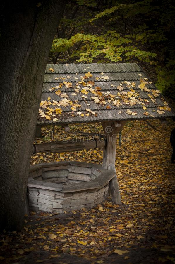 Wooden draw-well in autumn day with leaves on roof. royalty free stock photography