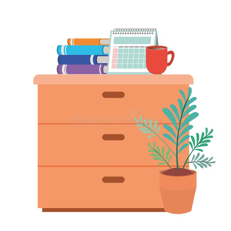 Wooden drawer with books isolated icon. Vector illustration desing vector illustration