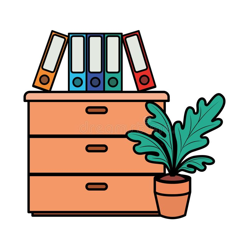 Wooden drawer with books isolated icon. Vector illustration desing royalty free illustration