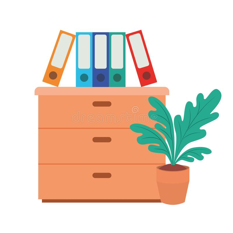 Wooden drawer with books isolated icon. Vector illustration desing stock illustration