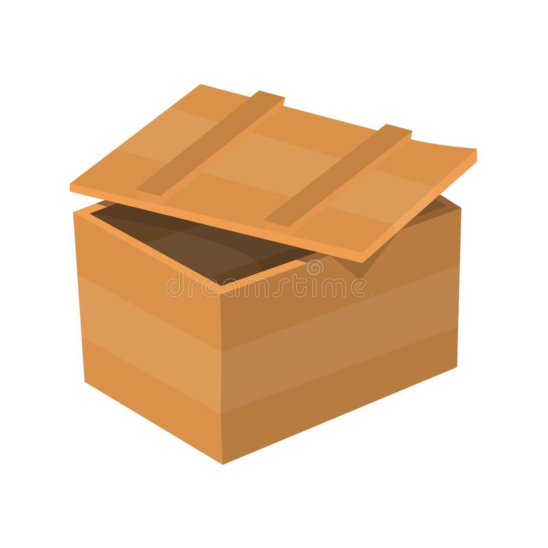 Wooden drawer. Box package. Container for delivery or shipping. Illustration isolated on white background royalty free stock photos