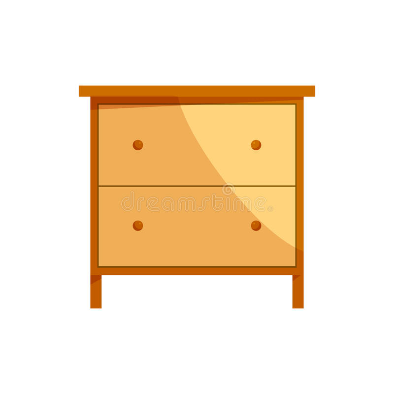 Wooden drawer chest icon, cartoon style. Wooden drawer chest icon in cartoon style on a white background stock illustration
