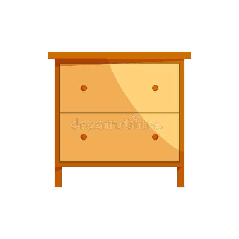 Wooden drawer chest icon, cartoon style. Wooden drawer chest icon in cartoon style on a white background royalty free illustration