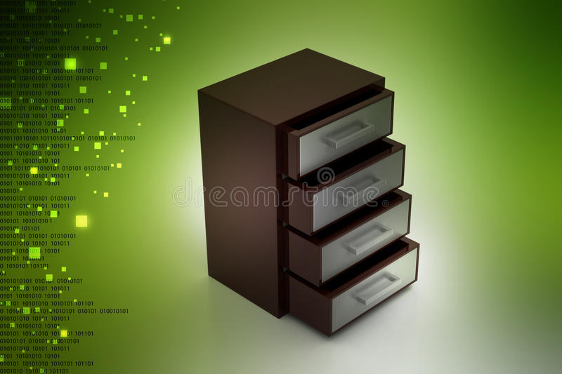 Wooden drawer. In color background royalty free illustration
