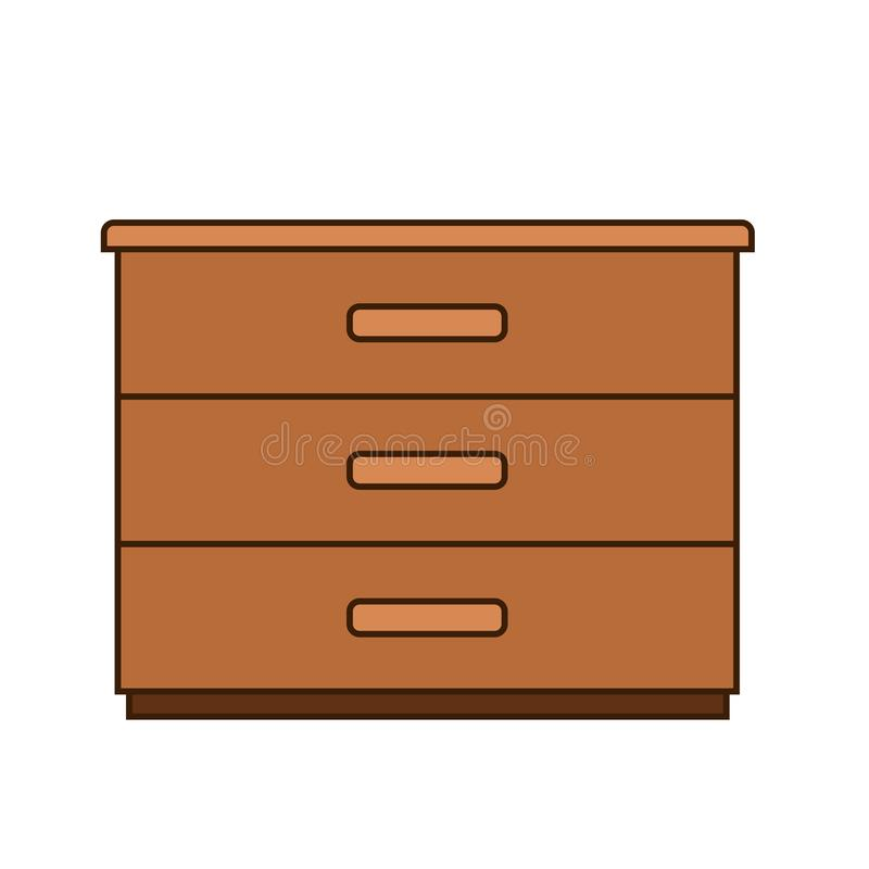 Wooden drawer isolated on white, stock vector icon illustration. Eps 10 vector illustration