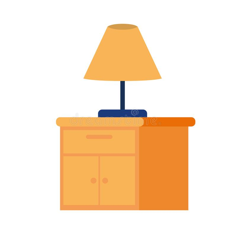 Wooden drawer with lamp in white background. Vector illustration design royalty free illustration
