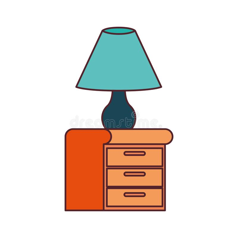Wooden drawer with lamp in white background. Vector illustration design vector illustration