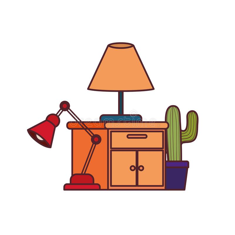 Wooden drawer with lamp in white background. Vector illustration design stock illustration