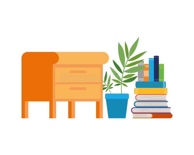 Wooden drawer with stack of books in white background. Vector illustration design vector illustration