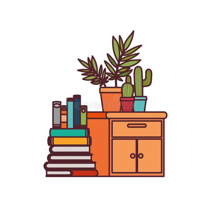 Wooden drawer with stack of books in white background. Vector illustration design royalty free illustration