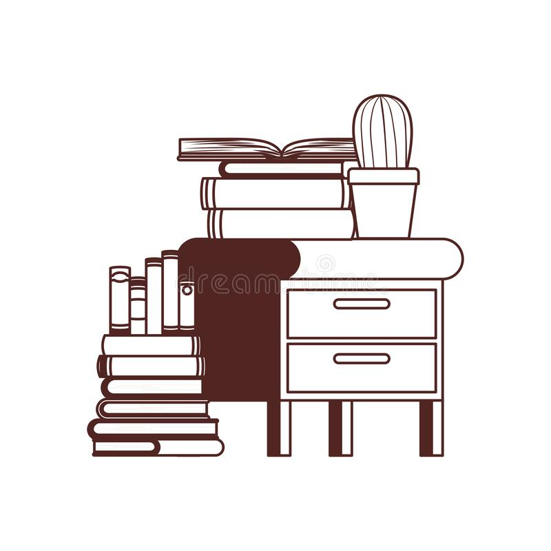 Wooden drawer with stack of books in white background. Vector illustration design stock illustration