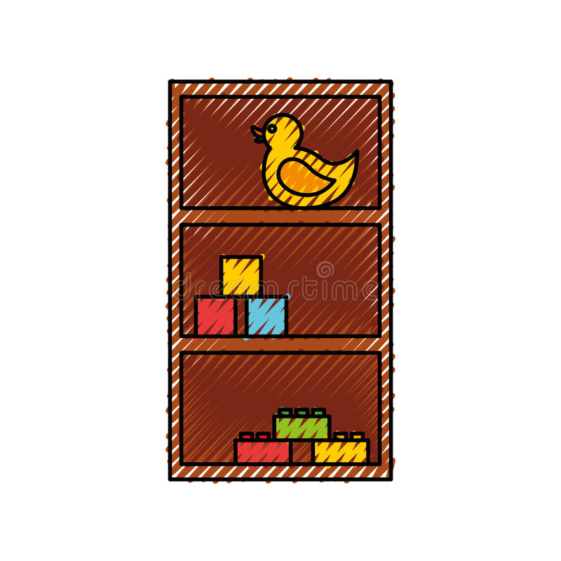 Wooden drawer with toys. Vector illustration design vector illustration