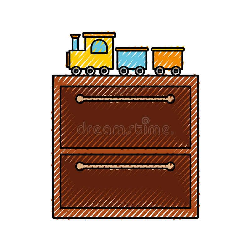 Wooden drawer with toys. Vector illustration design royalty free illustration
